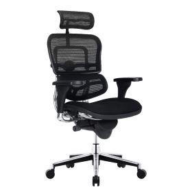 Sedia da ufficio ergonomica COMFORT Ergohuman Classic (con poggiatesta) - Sedile in stoffa - Nera