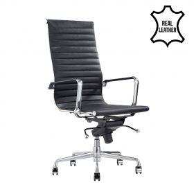 Sedia da ufficio Madrid – 100% vera pelle- nera