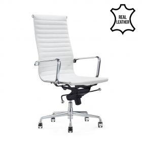 Sedia da ufficio Madrid – 100% vera pelle- bianca
