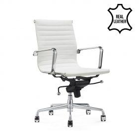 Sedia da ufficio Valencia– 100% vera pelle- bianca