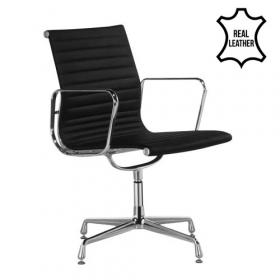 sedia per sala conferenza in 100% vera pelle murcia-nera