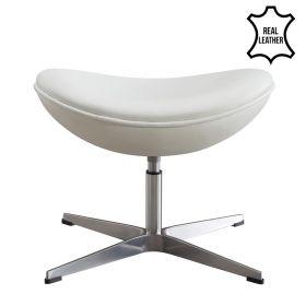 Egg Chair voetenbank / hocker - Echt leder - Wit